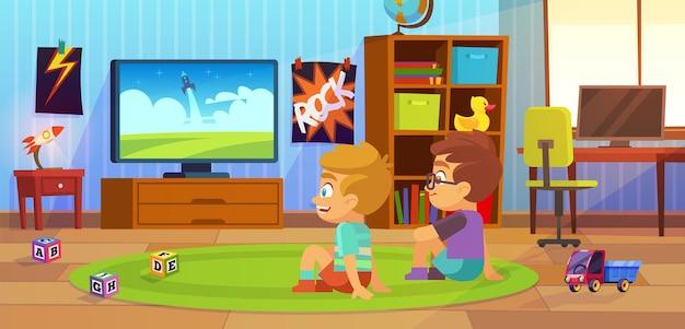 아이들은 tv를 봅니다. 어린이 인테리어, 어린이 소년 십대 아파트, 친구와 함께 카펫에 앉아 침실에서 만화를 보는 소년, 장난감 놀이방, 가정용 가구, 평평한 만화 벡터 일러스트레이션