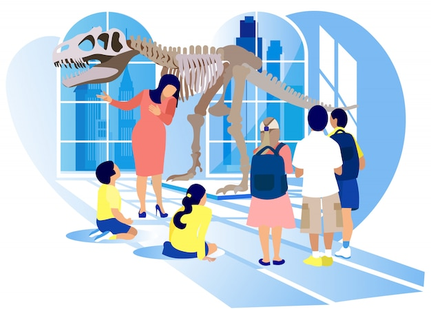 Kids watch tyrannosaurus rex dinosaur skeleton