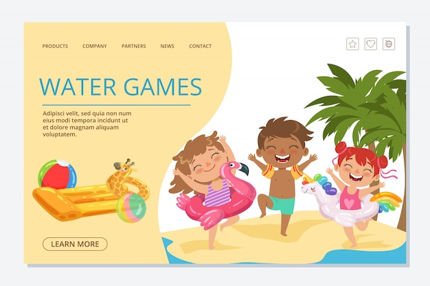 Kids water games landing page template. happy summer kids characters