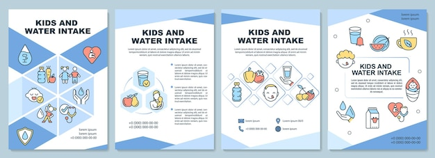 Kids and water intake brochure template. water amount for children. flyer, booklet, leaflet print, cover design with linear icons. vector layouts for presentation, annual reports, advertisement pages