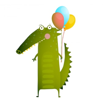 Kids watercolor style crocodile with balloons colorful cartoon