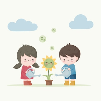 Kids watering the flower earth. save the earth ecology
