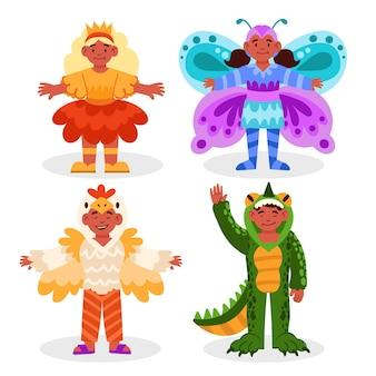 動物のカーニバルの衣装を着ている子供たち