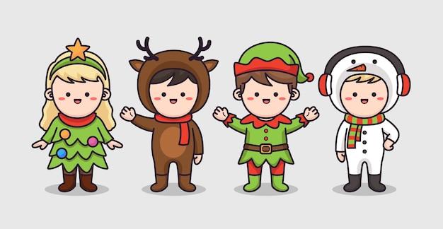 Kids wearing christmas costume