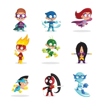 Kids wearing colorful costumes of different superheroes set