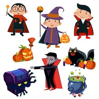 Kids wearing halloween costumes illustration