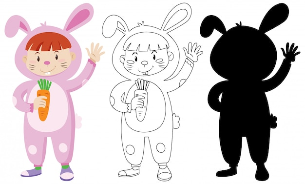 Kids wearing rabbit costume with its outline and silhouette