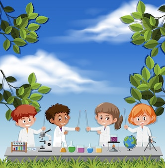 Kids wearing scientist costume on sky background