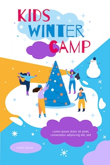 Kids winter camp banner flat vector illustration