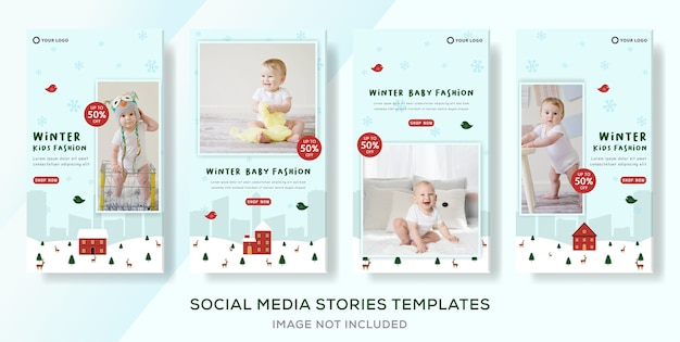 ソーシャルメディアストーリー投稿のためのキッズ冬セール割引服バナーテンプレート