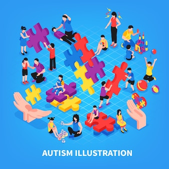 Kids with autism during game communication with parents learning and friendship on blue isometric illustration
