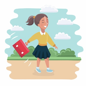 Kids with backpacks going on outdoor hiking trip. girl and two boys walking together on summer adventure or expedition. modern   illustration clipart.