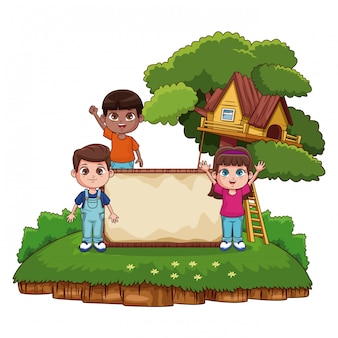 Kids with blank wooden board at park