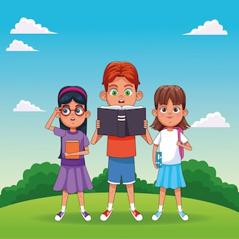 Kids with books cartoons