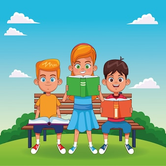 Kids with books cartoons