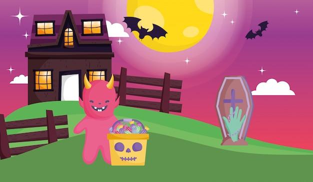 Kids with costume halloween