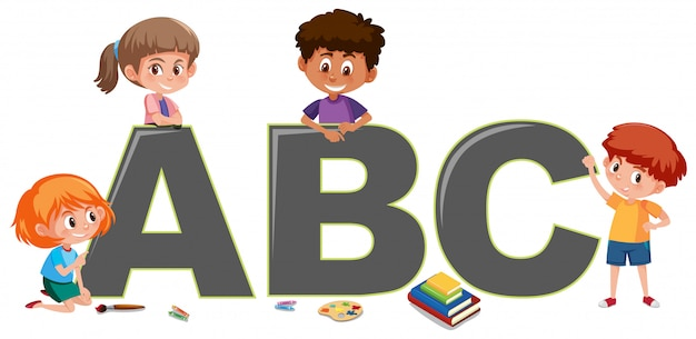 Kids with english alphabet