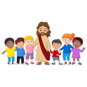 Kids with a jesus christ