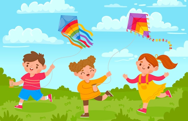 Kids with kites. boy and girl outside playing with flying toy in park. cartoon children and kite in wind sky. summer activity vector concept. colored kite and playing on green meadow illustration