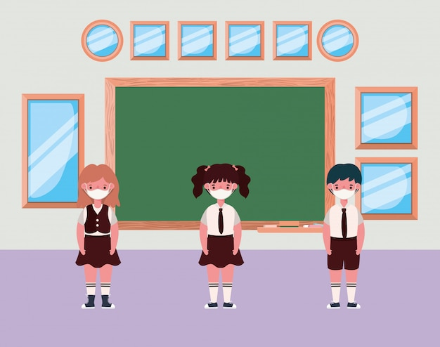 Kids with masks in classroom in front of board