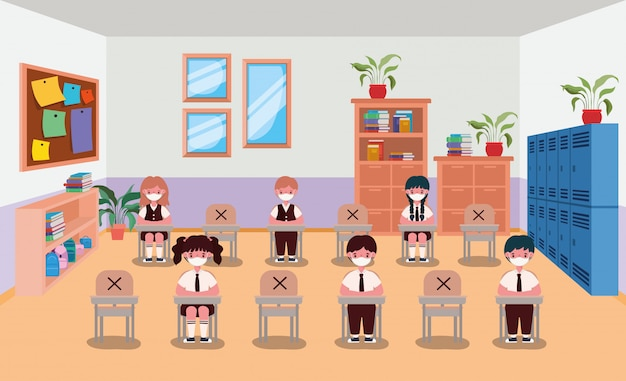 Kids with masks in classroom