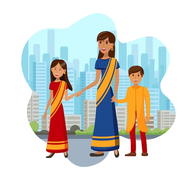 Kids with mother from india color illustration