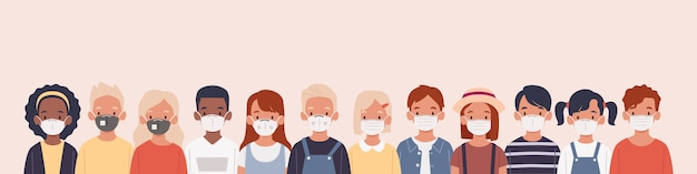Kids with protection mask flat illustrations set. group of children wearing medical masks to prevent disease, flu, air pollution, contaminated air, world pollution