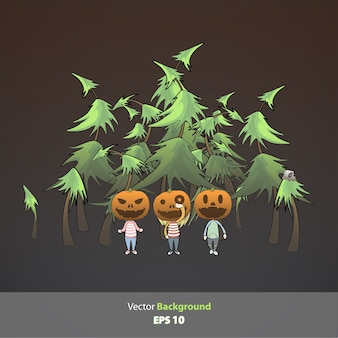Kids with pumpkin inside forest