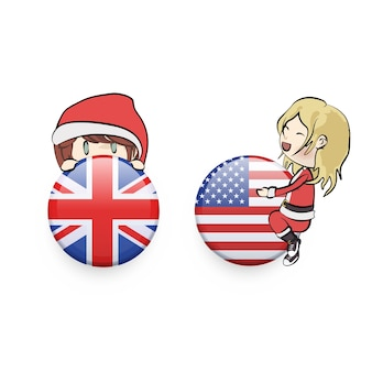 Kids with santa claus costume holding english buttons