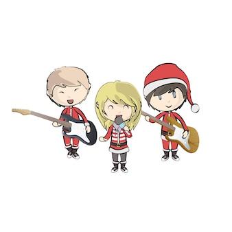 Дети с костюмом санта-клауса, играющие музыку