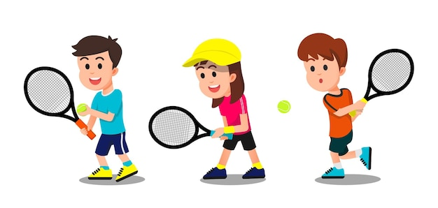 Kids with some poses playing tennis