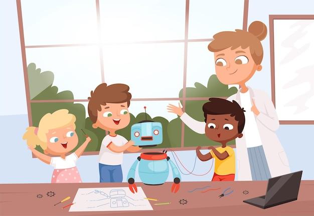 教師のロボットプログラミングを持つ子供たち。ロボット工学のおもちゃを修理するクラスの学生の将来の教育プロセスは、電子技術を修復します