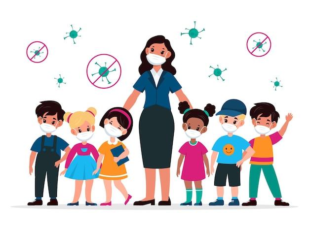 마스크를 쓴 선생님과 아이들. 주변에 의료 보호 마스크와 바이러스를 착용한 교육자와 어린이. 학교에서 covid-19 바이러스 확산을 막고 전염병 만화 평면 벡터 일러스트레이션을 조심하십시오