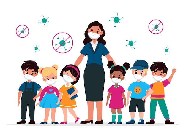 Kids with teacher with masks. pedagogue and children wearing medic protective mask and viruses around. stop the spread covid-19 virus in school, beware epidemic cartoon flat vector illustration