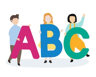 Kids with the ABC letters