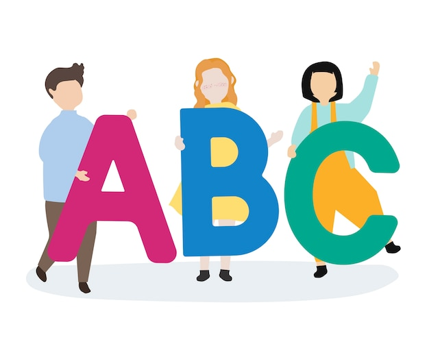 Дети с буквами abc
