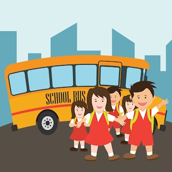 Kids with uniform going to school riding yellow school bus