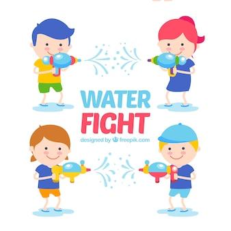 Bambini con raccolta di pistole d'acqua in stile piatto