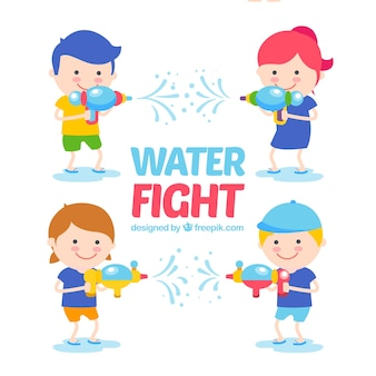 Kids with water guns collection in flat style
