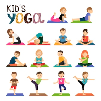 Kids yoga vector icons set