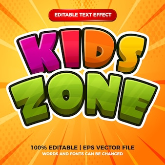 Kids zone 3d colorfull editable text effect cartoon comic game style