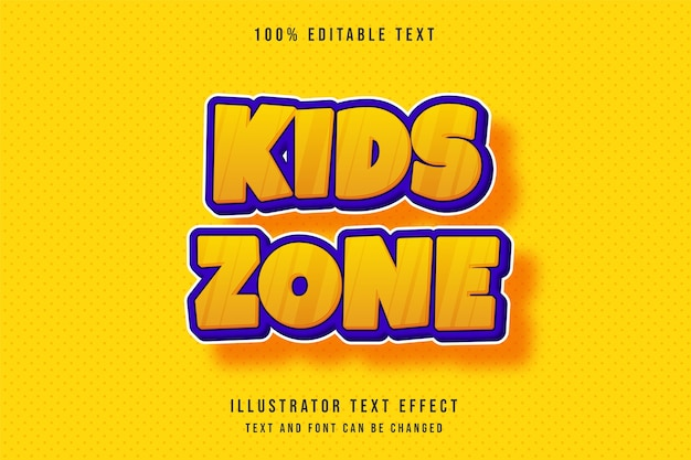 Kids zone, 3d editable text effect modern yellow orange text comic style