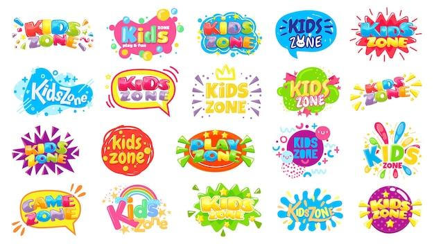 키즈 존 배지. 아이 플레이 룸 레이블, 화려한 게임 영역 배너 및 재미있는 배지 세트.