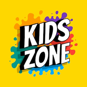 Kids zone banner with phrase on the background of colored heels of paints. vector flat illustration.