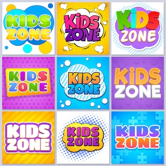 Kids zone banners. children game playground labels with cartoon lettering. school children park area vector backgrounds