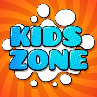 Kids zone card. colorful cartoon words on funny background design of abstract logo for child playroom