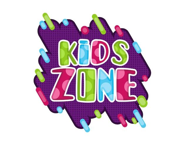 Kids zone. children playground game room or center emblem.