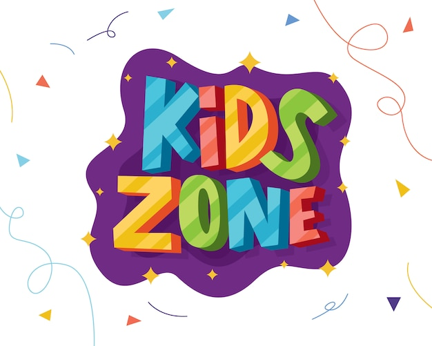 Kids zone colorful lettering
