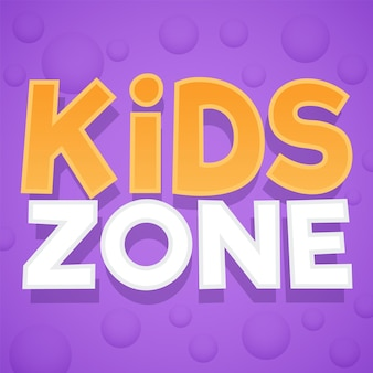 Kids zone. colorful playing park, playroom or game area logo. playground for children purple emblem or sticker with yellow, white text and bubbles. vector bright background