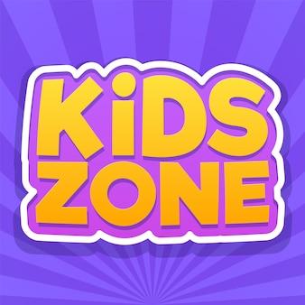 Kids zone. colorful playroom, playing park or game area logo. playground for children purple emblem or sticker with yellow text. vector bright background
